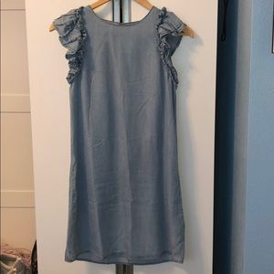 Brand new chambray ruffle dress